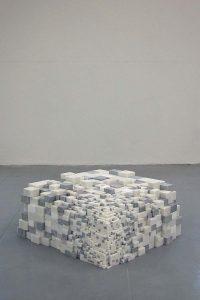 <i>sugar no sugar molecule</i>, 2002 </br> sugar cubes, polystyrene, marble, 80 x 80 x 45 cm / 31.5 x 31.5 x 17.7 in