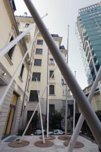 <i>fantasia</i>, 2012 </br>   fiberglass flag poles, steel bases, 5 pieces, variable dimension