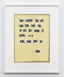 <i>scrittura illeggibile di un popolo sconosciuto </br> (illegible writing of an unknown people)</i>, 1973 </br> collage on paper, 50 x 44 cm / 19.7 x 17.3 in