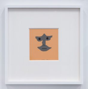 <i>viso di ignoto (face of unknown)</i>, 1960 </br> collage and ink on paper, 15 x 14 cm / 5.9 x 5.5 in