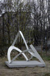 fold b, installation view, 5th berlin biennale, berlin, 2008 painted metal