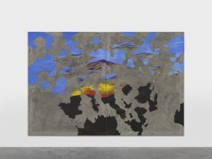 <i>sun set down</I>, 2020 </br> acrylic paint and concrete, vinyl and fiber on canvas mounted on aluminium, two paintings </br> 200 x 300 x 2,5 cm / 78.7 x 118.1 x 1 in