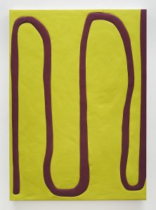 Sadie Benning, <I>untitled, telephone drawing</I>, 2017 </br> wood, aqua resin, and acrylic paint </br> 172,7 x 121,9 cm / 68 x 48 in