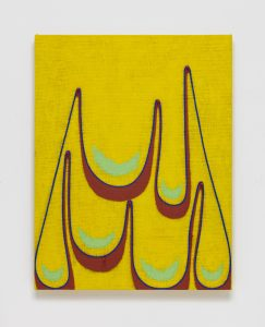 <i>untitled</I>, 2019 </br> oil on jute with wooden dowels </br> 76,2 x 58,4 x 6,4 cm / 30 x 23 x 2.5 in