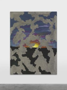 <I>sun set down</I>, 2021 </br> acrylic paint and concrete, vynil and fiber on canvas mounted on aluminum </br> 200 x 150 x 2,50 cm 78.7 x 59 x 0.9 in