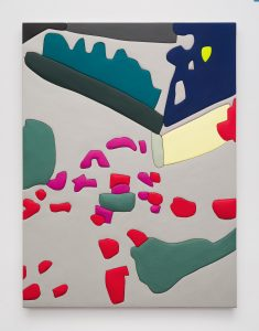 <i>Untitled, Blow Up 37</I>, 2020 </br> wood, aqua resin, casein, and acrylic gouache </br> 149,9 x 111,8 x 4,5 cm / 59 x 44 x 1.8 in