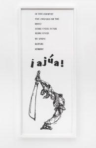 <i>beware gringo (la raza, vol. i, no. 14, july 1968, l.a. pg.2)</i>, 2015</br>graphite on paper</br>81,3 x 35,7 cm / 32 x 14 in