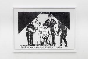 <i>fascist police (inside eastside 1968 no.14, pg 7)</i>, 2015</br>graphite on paper</br>62 x 43,5 cm / 24.4 x 17.1 in