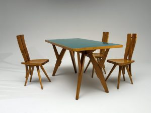 <i>table</i> and <i>chairs for Casa del Sole</i>, 1953</br>table: 79 x 80 x 160 cm / 31.1 x 31.5 x 63 in</br>chair: 94 x 38 x 47 cm /37 x 15 x 18.5 in