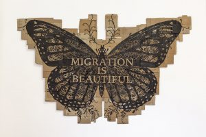 <i>papillon monarque (migration is beautiful)</i>, 2014</br>marker on cardboard</br>234 x 376 cm / 92 x 148 in