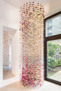 <i>pomona</i>, 2017  </br> steel, silk-screened, 76 threads </br> 470 x 125 cm / 185 x 49.2 in