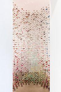<i>may i bring a friend?</i>, 2017  </br> steel, silk-screened, 127 threads </br> 430 x 300 x 274,5 cm / 169.3 x 118.1 x 108.1 in