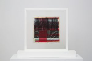 <i>los alamos</i>, 1958</br>mixed media on gloss transparent sheet</br>24 x 24 cm / 9.5 x 9.5 in