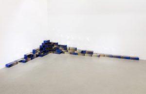 <i>utopia stuff</i>, 2018  </br> 90 blown mirrored glass bricks, installation above: 40 x 180 x 360 cm / 15.7 x 70.9 x 141.7 in