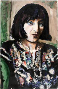 <i>larissa #1</i>, 1971 </br> acrylic & pastel on paper, 101,6 x 66 cm / 40 x 26 in
