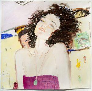 <i>nina</i>, 1977 </br> acrylic & pastel on paper, 107,3 x 106,7 cm / 42.2 x 42 in