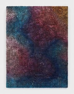 <I>Incantation, Evening Chatter</I>, 2021 </br> Car enamel and paper clay on wood panel </br> 182,8  x 243,8  x 10,1 cm / 72 x 96 x 4 in