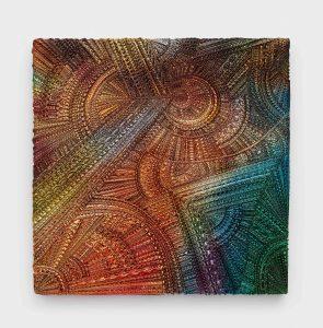 <I>Incantation, King Bolete</I>, 2021 </br> Car enamel and paper clay on wood panel </br> 106,6 x 106,6 x 5,08 cm / 42 x 42 x 2 in