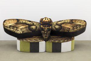 Anthea Hamilton, <i>Mama Moth Sofa</i>, 2019 </br> fabric, polyurethane foam, wood, 110 x 360 x 134 cm / 43.3 x 141.7 x 52.7 in