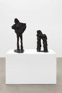 Simone Fattal, <i>Adam and Eve</i>, 2019 </br> bronze, Adam: 73 x 22,5 x 39,5 cm / 28.7 x 8.9 x 15.5 in  </br> Eve: 47,3 x 26 x 19,5 cm / 18.6 x 10.2 x 7.7 in