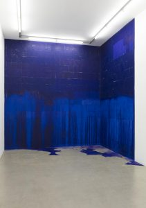 Latifa Echakhch, <i>A chaque stencil une revolution  </br> (For each stencil a revolution)</i>, 2007 </br> carbon paper A4, glue, methylated alcohol, site specific