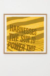 Corita Kent, <i>harness the sun</i>, 1967 </br> screenprint, 59,5 x 65,5 x 3 cm / 23.4 x 25.8 x 1.2 in