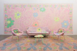 lily van der stokker, pink decoration, 2012 mixed media, installation size: 750 x 295 x 255 cm