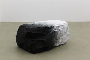 <i>il mistero nascosto in una nuvola (mystery hidden in a cloud)</i>, 2012</br>black belgian marble, powdered sugar</br>52 x 68 x 112 cm