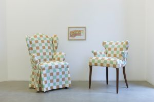 lily van der stokker, installation with flippy floppy couch drawing (1997), 2012 mixed media, installation size: 135 x 105 x 97 cm