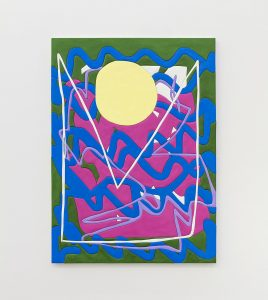 sadie benning, sun soundwaves, 2016 medite, aqua resin, casein and acrylic 185.5 × 134.62 cm 73 x 53 inches
