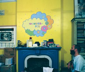 <i>wonderful</i>, 1993 </br> acrylic paint on wall variable dimensions, maximum width 200 cm / 78.7 in