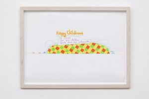 <i>happy childhood</i>, 2005 </br> design for wall painting, colored pencil + marker on paper, 24,5 x 33 cm / 9.6 x 12.9 in