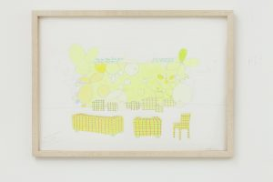 <i>price of thea $ 1.80 in new york</i>, 2004 </br> design for a wall painting with furniture, colored pencil on paper, 32,4 x 44,7 cm / 12.7 x 17.5 in (framed)