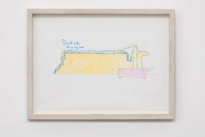 <i>jack is 71</i>, 2002 </br> design for wall painting, colored pencil and pen on paper, 25 x 33,5 cm / 9.8 x 13.1 in (framed)