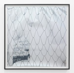 <i>no title (net on mirror foil 1)</i>, 2014</br> drawing on reflective paper</br>65 x 65 cm / 25,2 x 25,2 in