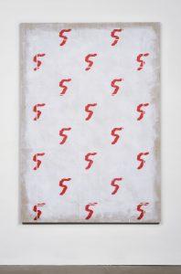 matt sheridan smith, pattern portrait (cyclist), 2014 acrylic gel transfer, paper on linen, 203 x 142,2 cm