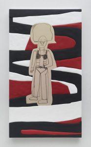 sadie benning, bra person 1, 2016 medite, aqua resin, casein and acrylic, 150 × 84 cm 59 x 33 inches