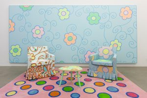 lily van der stokker, installation with gobelin painting, 2012 mixed media, installation size: 438 x 235 x 223 cm
