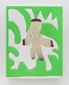 sadie benning, excuse me ma'am, again, 2016 medite, aqua resin, casein and acrylic, 112 × 86.5 cm 44 x 34 inches