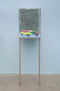 dianna molzan, untitled, 2015 watercolor on paper, flashe, mylar, string, wood, uv plexiglass, maple, 161.3 x 46.7 x 37.9 cm