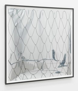 <i>no title (net on mirror foil 3)</i>, 2014</br> drawing on reflective paper</br>65 x 65 cm / 25,2 x 25,2 in