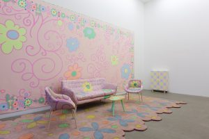 lily van der stokker, living room pink decoration combination with extra fauteuil plus table, 2012 mixed media, installation size: 685 x 295 x 255 cm
