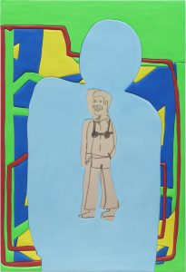 sadie benning, bra person 2, 2016 medite, aqua resin, casein and acrylic, 150.3 × 102 cm 59 x 40 inches