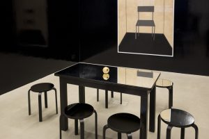 thomas zipp, untitled, 2013 one table, six chairs, one sculpture, wood, mirror, variable dimensions