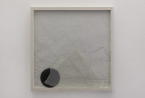 <i>alpha and omega</i>, 2013</br>graphite on paper</i>19.7 x 19.7 x 2.4 / 50 x 50 x 6 in