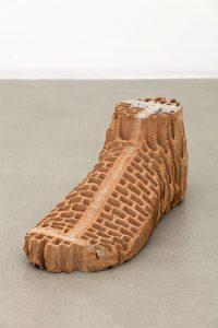 judith hopf, brick-foot, 2016 bricks, cement, red clay, 25 × 68 × 25 cm