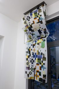 maggie cardelús, by way of controlling uncontrollable forces, 2012 digital printed silk, iron structure