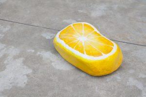 nicolas party, blakam's stone (lemon), 2015 acrylic on stone, 8 x 24 x 16 cm