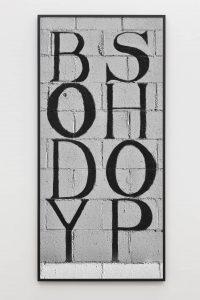shannon ebner, the body shop, 2014 framed epson inkjet, 80.77 x 38.82 in, 205 x 96,5 cm