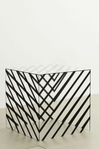 <i>cage cube 2</i>, 2012</br> glass, adhesive, tape</br>80 x 80 x 80 cm